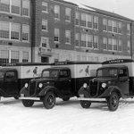 The company's fleet of delivery trucks, circa 1935.