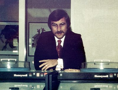 Lepage Bakeries was one of the first baking companies in the nation to embrace computer technology. Here Lepage poses with the company's first computer in 1972.