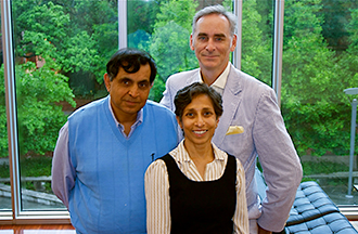 Marketing professors Harish Sujan, left, and Mita Sujan, center, are working with Dr. Timothy Harlan, right, on research to help doctors better assist their patients in achieving diet-related goals.