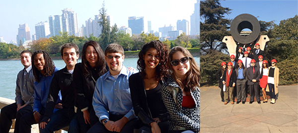 In January, Master of Management students traveled to Xiamen, China, above left, and Shanghai, above right, where they worked on a consulting project for Shanghai Baosteel Group.