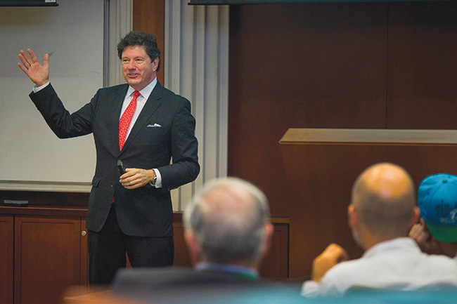 Peter Ricchiuti took alumni and parents on a whirlwind and lighthearted tour of the economy as part of 2015's Homecoming Speaker Series.