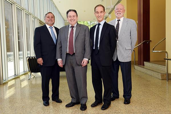 Dean Solomon with former Freeman School Deans Angelo DeNisi, Meyer Feldberg and James McFarland