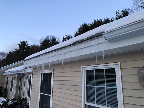 Roof with ice dams